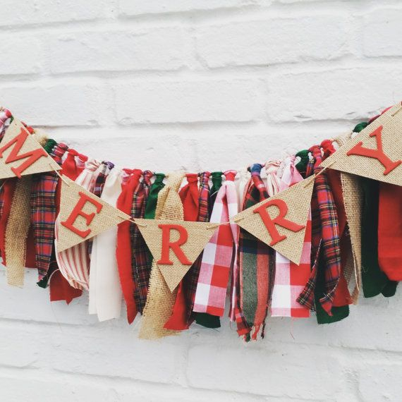 Burlap and fabric 'Merry' garland and pendant by EclecticSoirees