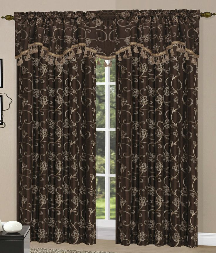 Megan Curtains Are An Elegant Embroidered With Gold Sching On Faux Silk Fabric In A Fl And Scroll Pattern Valance Is Embellished Quality Tassel