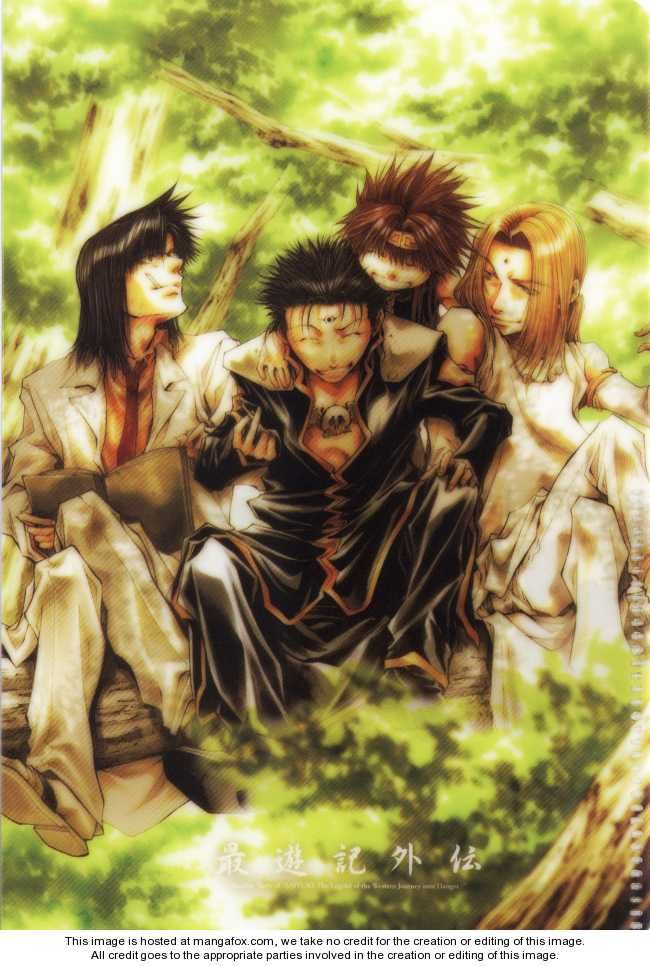 From left to right: Tenpou, Kenren, Goku and Konzen from Saiyuki Gaiden