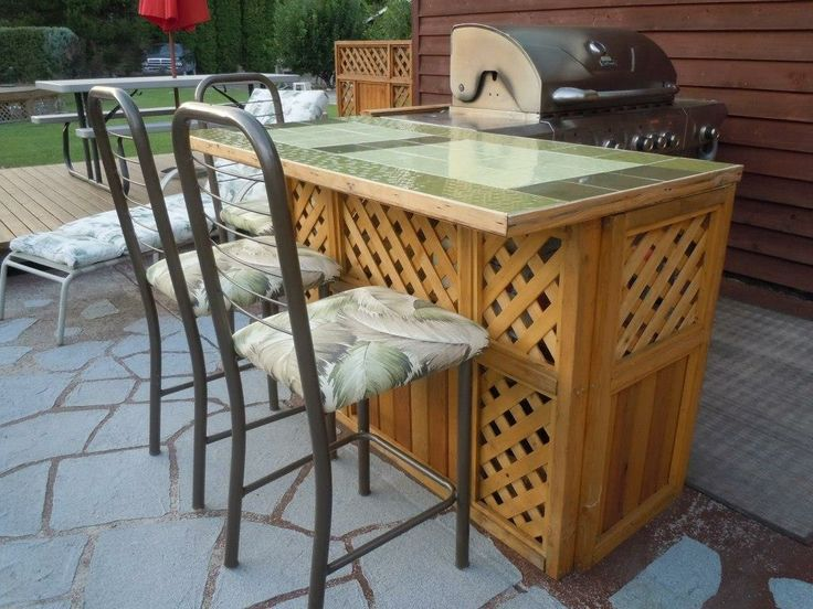 Outdoor Patio Bar Using Leftover Cedar, Scrap Lumber And Leftover Ceramic  Tiles. Re
