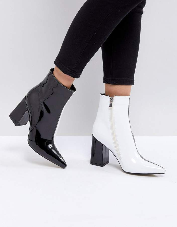 Black and white ankle boots, Leather