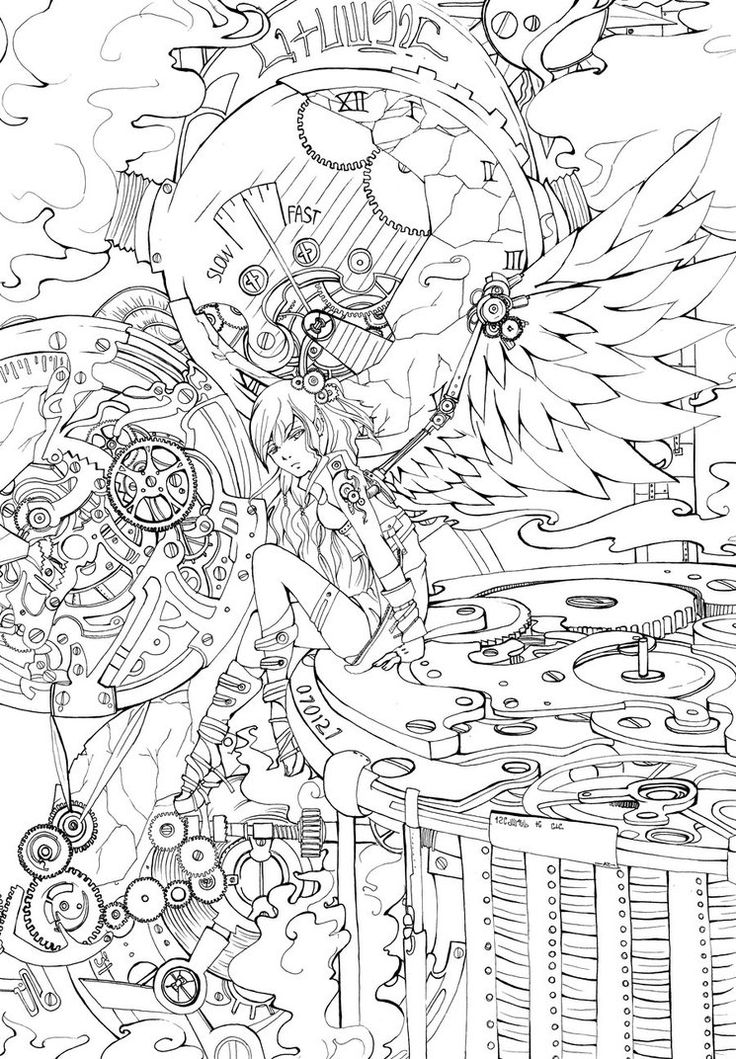 Detailed Coloring Pages For Adults | LA : Steampunk Angel by ravenlael