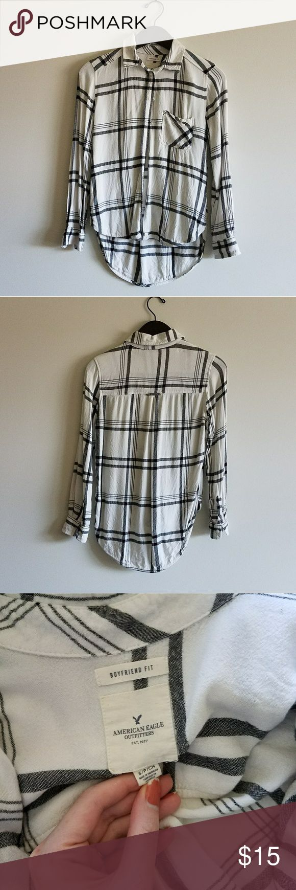 """Boyfriend Fit Plaid Very sad to sell this since it was my favorite shirt but it shrank in the wash and now it's too short for me. For reference I'm 5'7"""" with long arms and torso so it would work better on someone shorter than me. Will update with measurements. Very soft and cozy. American Eagle Outfitters Tops Button Down Shirts"""