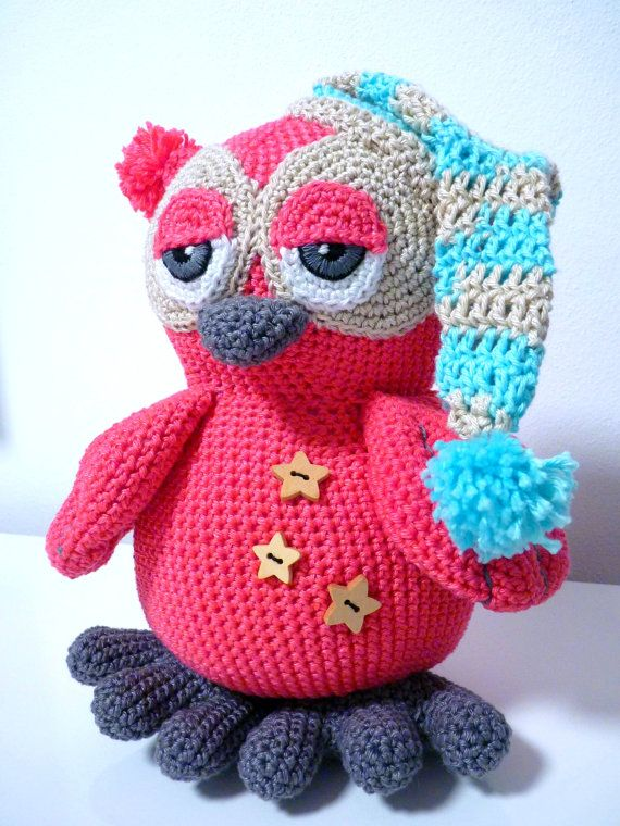 Crochet  Owl Pattern Amigurumi PDF Cute Sleepy Animal With Cap And Button Stuffed Toy By SKatieDes
