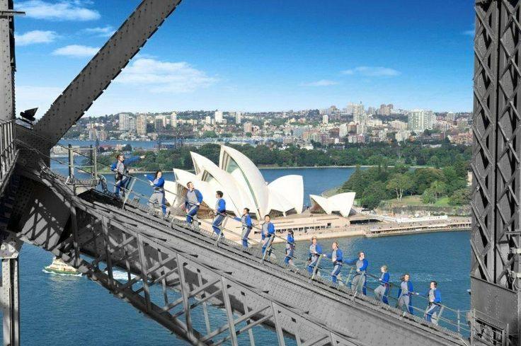 People climbing Sydney Harbour Bridge