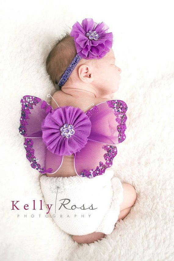Newborn baby girls butterfly wings and headband by cutiepiegoodies