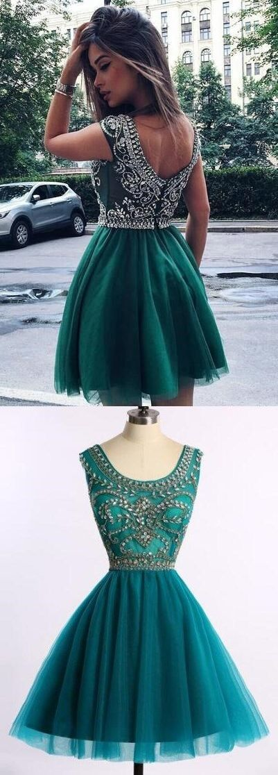 Short Scoop Cap Sleeves with Beading,Fashion Homecoming Dress,Sexy