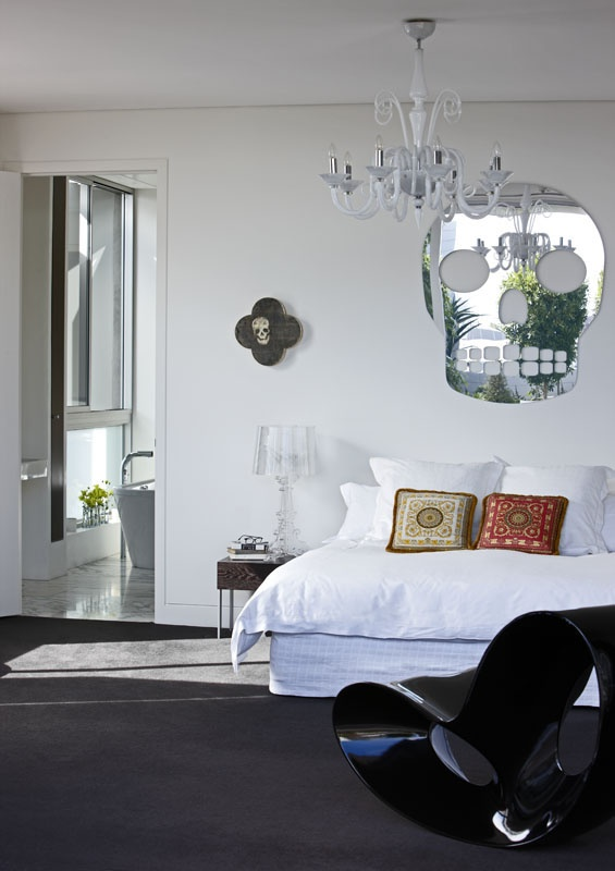 New Zealand Multi Use Building In Auckland, NZ   By DHD Architecture + Interior  Design   Master Bedroom   Skull Artwork And Mirror   Black And White