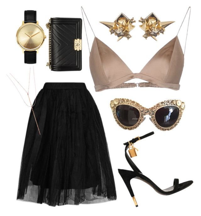 """""""Black & Gold"""" by boipelo-johny on Polyvore featuring Topshop, T By Alexander Wang, Dolce&Gabbana, Nixon, Alexis Bittar, Tom Ford, Chanel and Lana"""