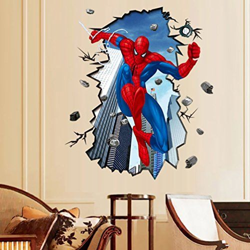SHEENROAD 3D Wall Sticker Kids Room Decor Wall Decals Mural Wallpaper  (Spider Man)