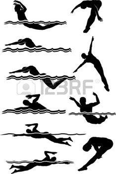 nuotatore: Maschio, nuoto e immersioni immagini vettoriali Silhouettes  Vettoriali