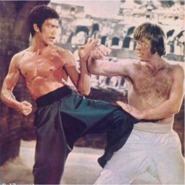Bruce Lee & Chuck Norris fight to the death in the Colosseum in Rome.