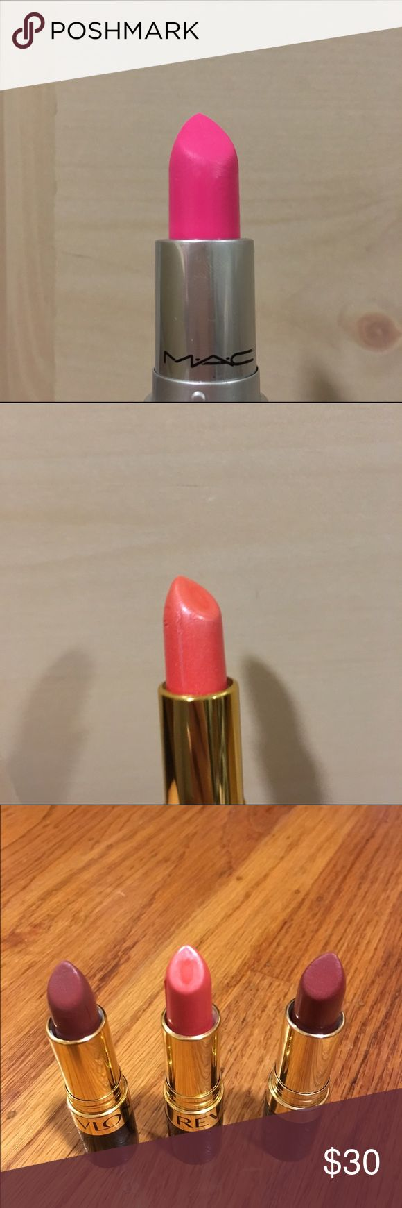 Mac Lipstick & Revlon Lipsticks MAC lipstick in candy yum yum, Revlon lipstick in rum raisin, Revlon lipstick in spicy cinnamon, Revlon lipstick in softsilver red. Price negotiable! All swatched on hand once, except softsilver red which is brand new!! It is a beautiful pink shade. All authentic. Feel free to make me an offer & bundle with other listings! This listing includes all 4 lipsticks. MAC Cosmetics Makeup Lipstick