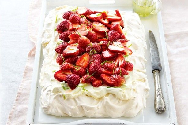 Invite your friends over to share in this gorgeous pavlova topped with fresh strawberries and zesty lime syrup.