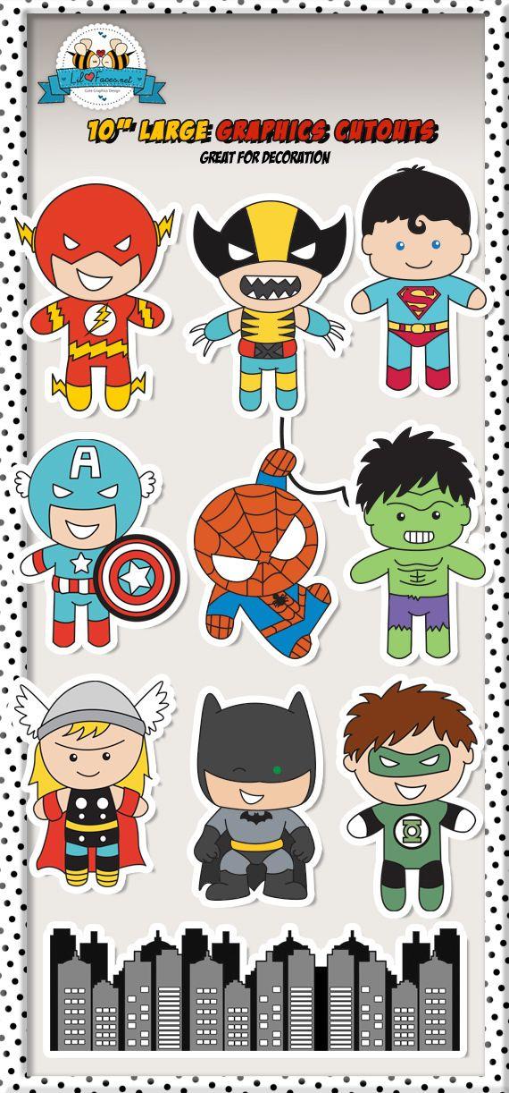"Large Superheroes 10"" Graphics Cutouts"