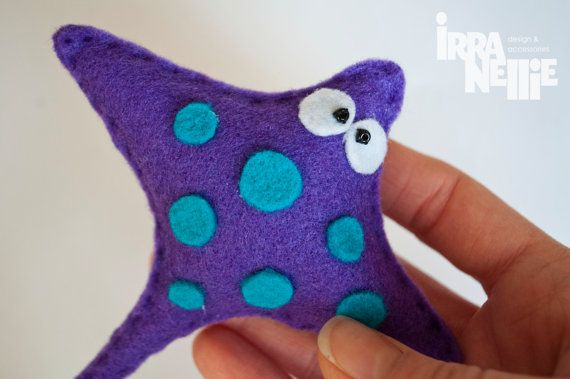 Manta Ray felt fridge magnet purple sea creatures by IrraNellie, $10.00