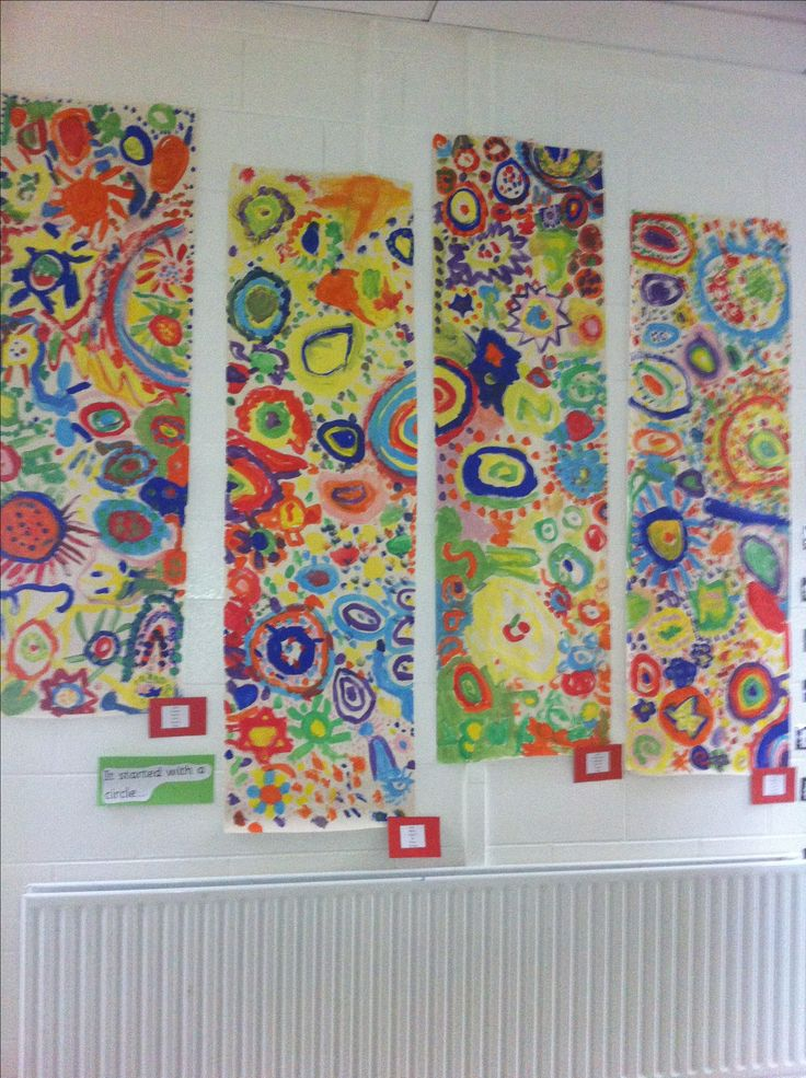 Circle painting collaborative art ... Each child starts with a circle and then moves and asks someone can they add to theirs. Simple but wow