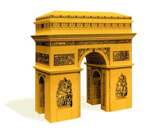 Arc de Triomphe - paper architecture model building kit    16 cm - 6 inches high    white - gold - silver - steel color metallic paper