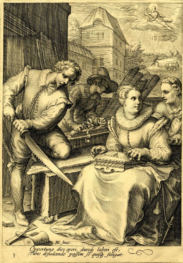 Midday; a carpenter saws a plank of wood and another uses a levelling plane; on the ground is a hammer and chisel; at r a seated woman makes lace  Engraving