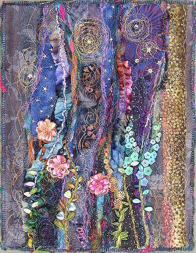 Molly Jean Hobbit: Night Garden, Crazy Quilt, Molly Jean, Jean Hobbit, Art Textile, Fabric Art, Art Quilts, Fiber Art, Textile Art