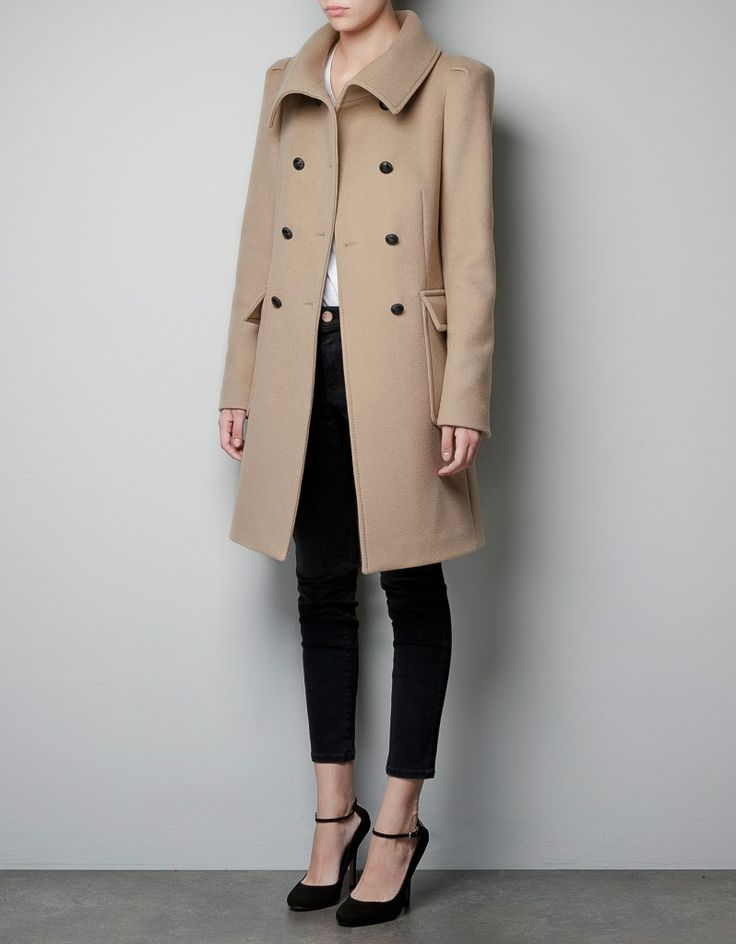 Zara Coat with Gathering On Shoulder