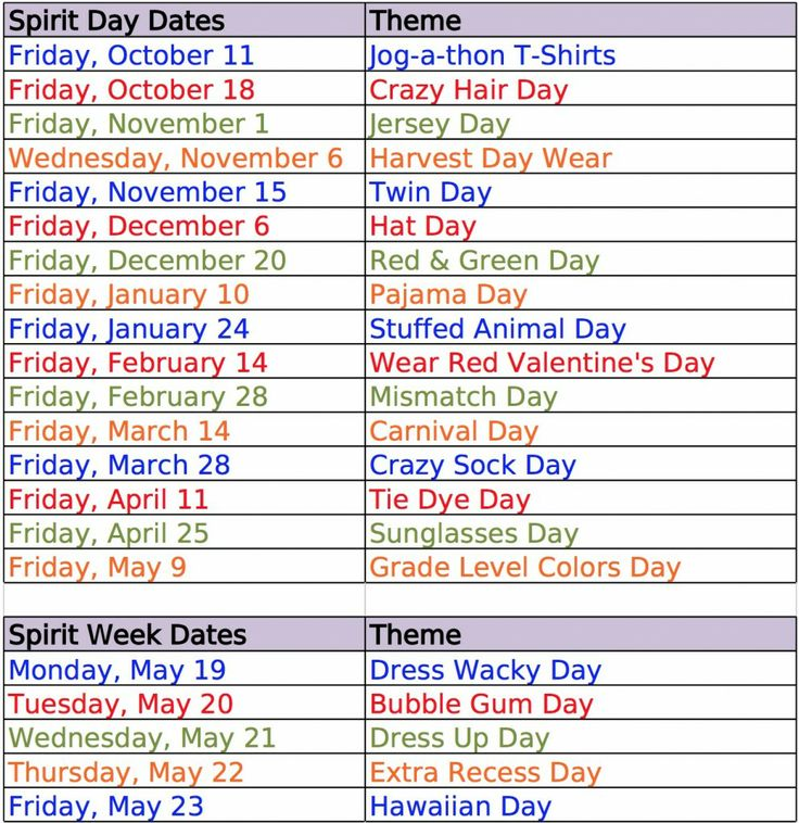 School Spirit Day ideas
