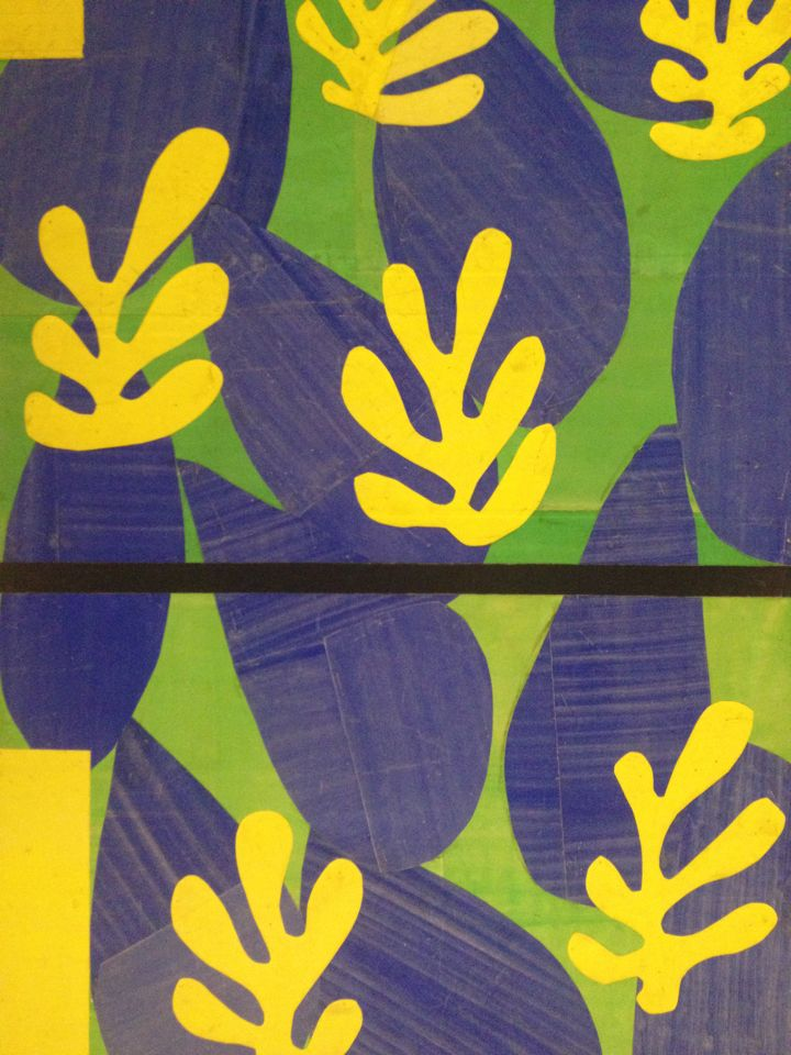 make a Henri Matisse-inspired project with cut out leaf shapes traced from real lives