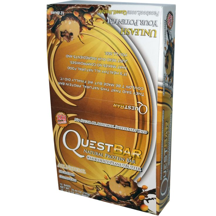 Quest Nutrition, Natural Protein Bar, Chocolate Peanut Butter, 12 Bars, 2.12 oz (60 g) Each