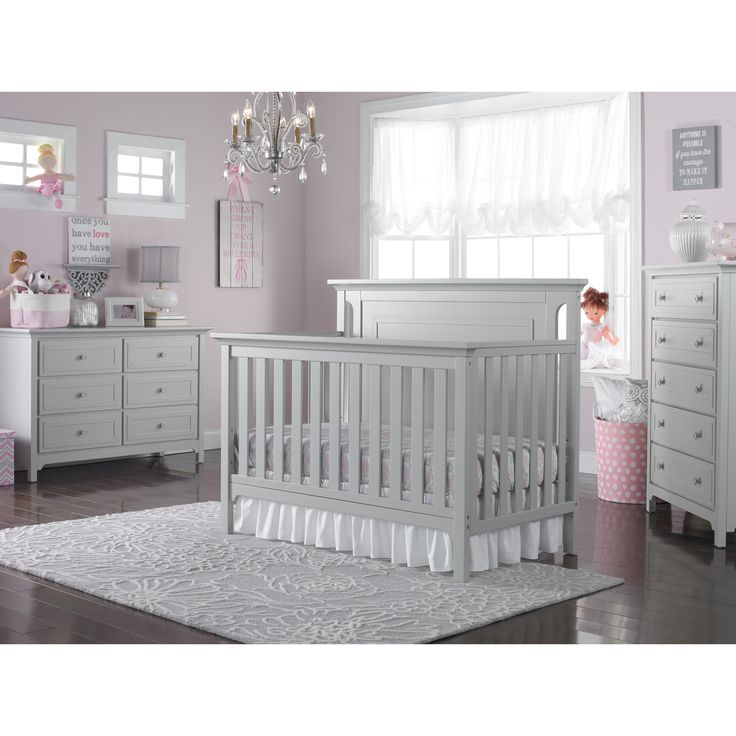 Captivating Ti Amo Carino 2 Piece Nursery Set   Convertible Crib And Double Dresser In  Misty Gray