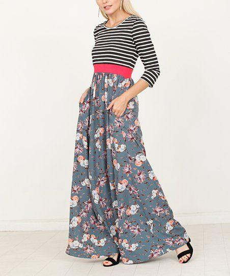880710a891a egs by éloges Blue Stripe   Floral Maxi Dress - Women   Plus ...