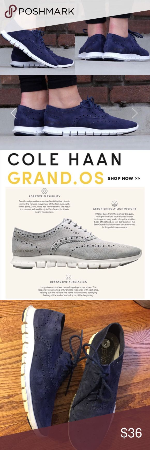 Cole Haan Zero Grand perforated sneakers The most comfortable, lightest, softest sneakers you can wear! Cole Haan Zero Grand OS perforated wingtip design navy suede sneakers. Great condition, lightly used, no damage. Make these yours for a steal. Or, bundle and save more! Cole Haan Shoes Sneakers