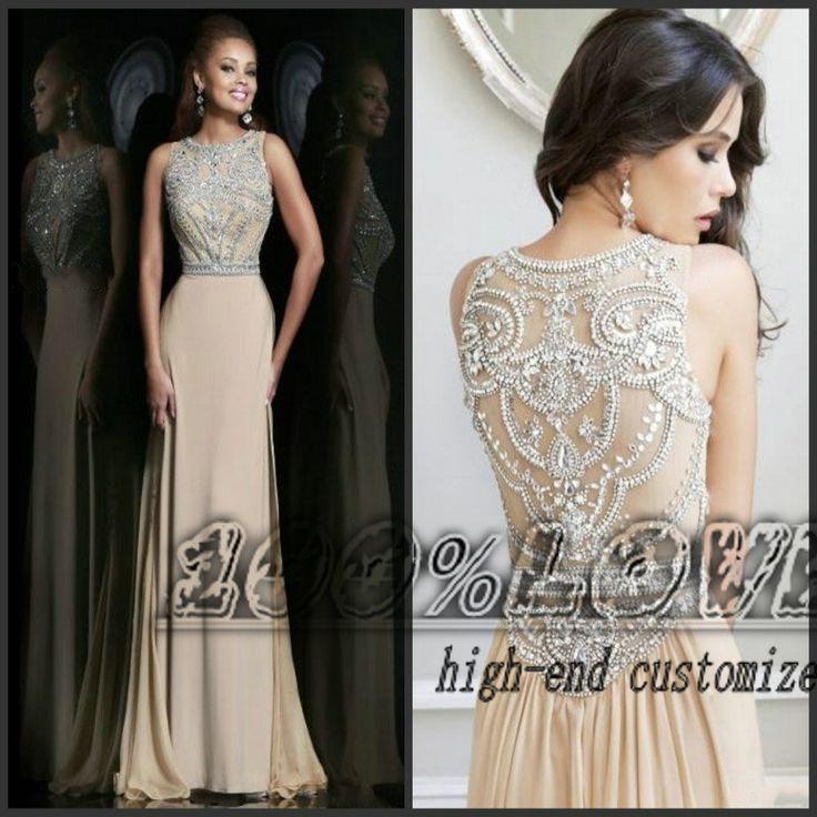 Free Shipping Rhinestone Crystal Beading Nude Masquerade Prom Dresses US $178.00 Allie