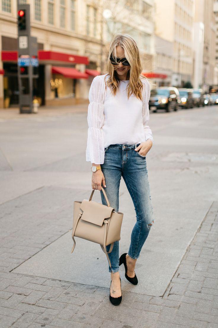 Spring Outfit, Club Monaco White Lace Top, Celine Belt Tie Handbag, Denim Ripped Skinny Jeans, Chloe Scallop Pumps