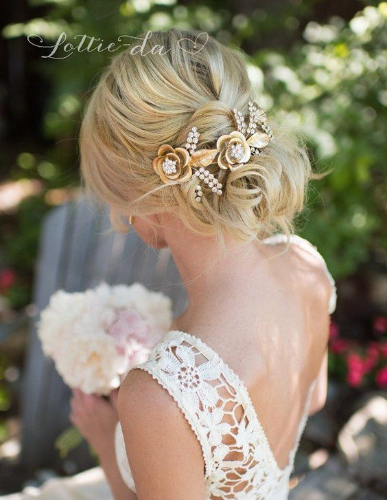 Wedding Updo Hairstyle with Grecian Gold Hair Wreath