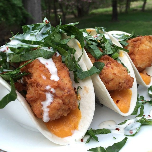 Southern Fried Chicken Tacos (with Sweet Potato Puree, Collard Greens, and Homemade spicy maple Buttermilk Sauce)