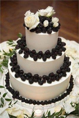 Black and white autumn fruits wedding cake