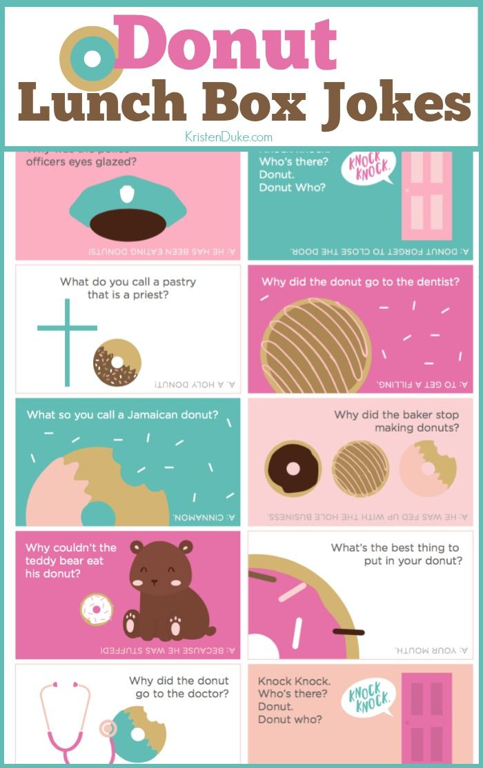 Donut Lunch Box Jokes. Kids love finding these in their lunches at school. Great way to connect with kids. www.Capturing-Joy.com