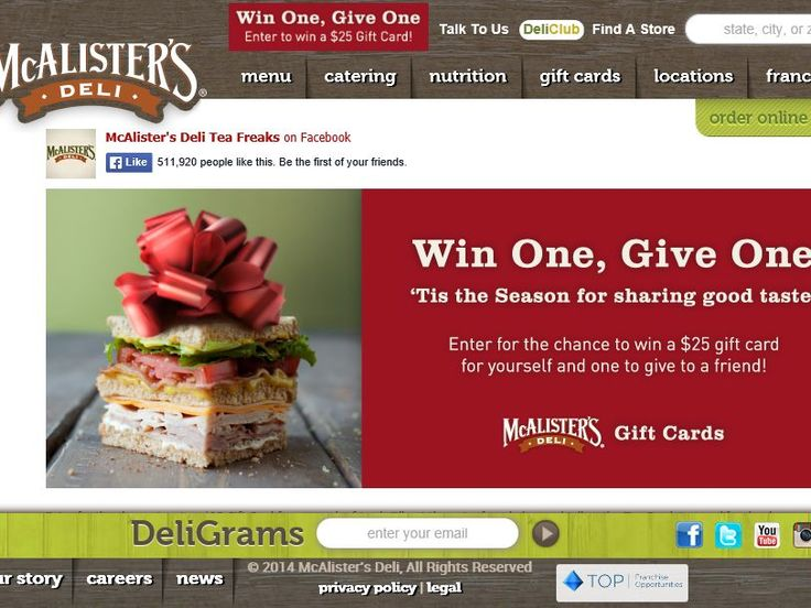 """Enter the McAlister's """"Win One, Give One"""" Sweepstakes for a chance ..."""