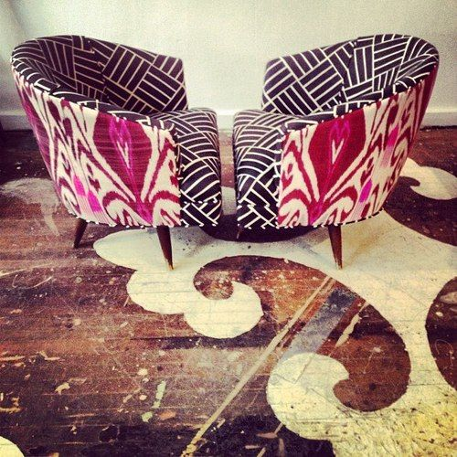 We're on the right feel here with classically modern feminine eclecticism. Fleur-de-lis meets tribal meets ikat pattern.