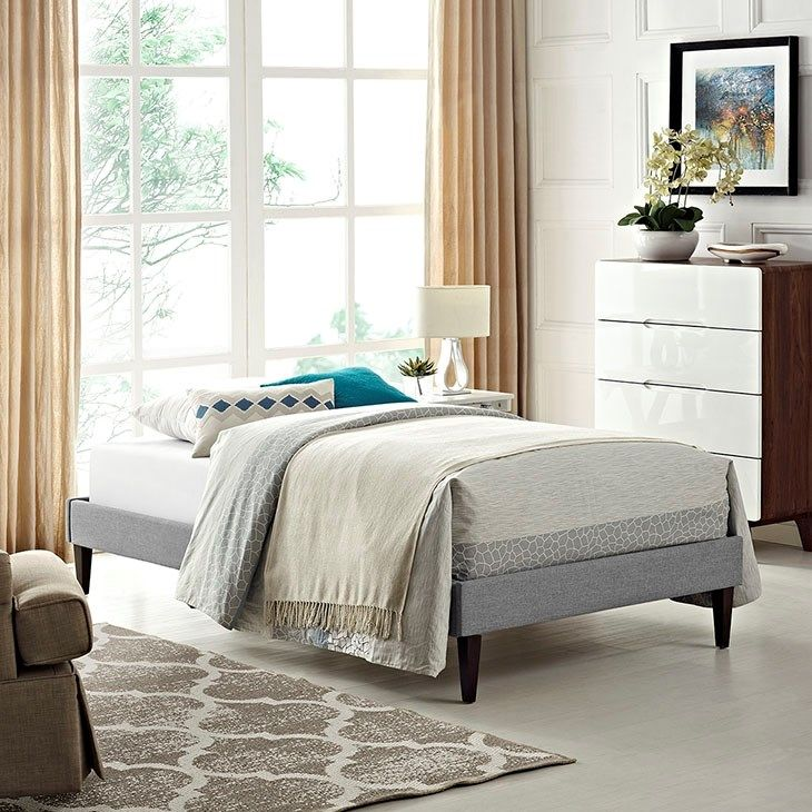 LexMod - Sharon Twin Fabric Bed Frame with Squared Tapered Legs in Light Gray