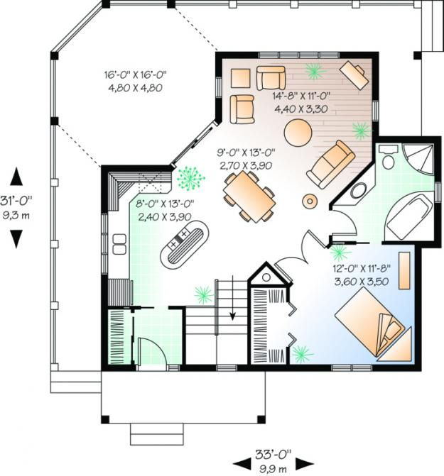 House Plan 034 00093 Cottage Plan 840 Square Feet 1 Bedroom 1 Bathroom In 2021 Cabin House Plans House Plans Cabin Floor Plans