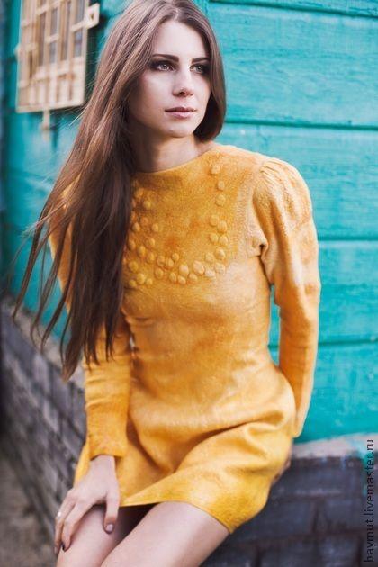 """Валяное платье с рукавом """"Golden Mustаrd"""" - жёлтый,золотое платье,валяное платье"""