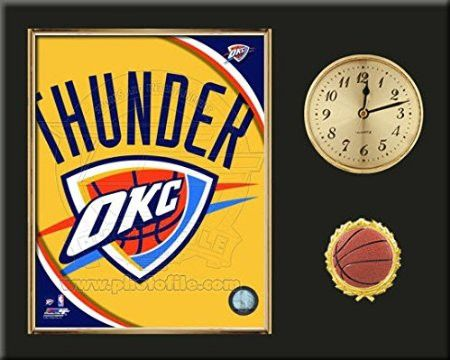 Oklahoma City Thunder Team Logo Photo Inserted In A Gold Slide In Frame & Mounted On A Plaque With Arabic Clock