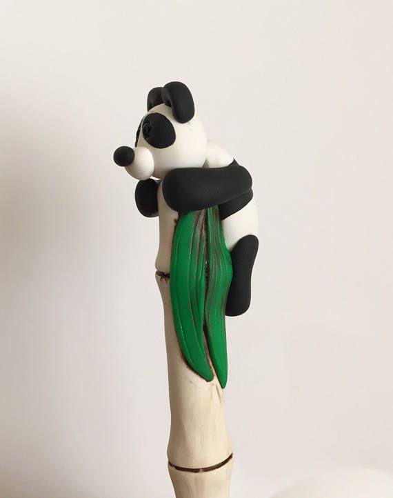 Panda de arcilla de polímero bolígrafo