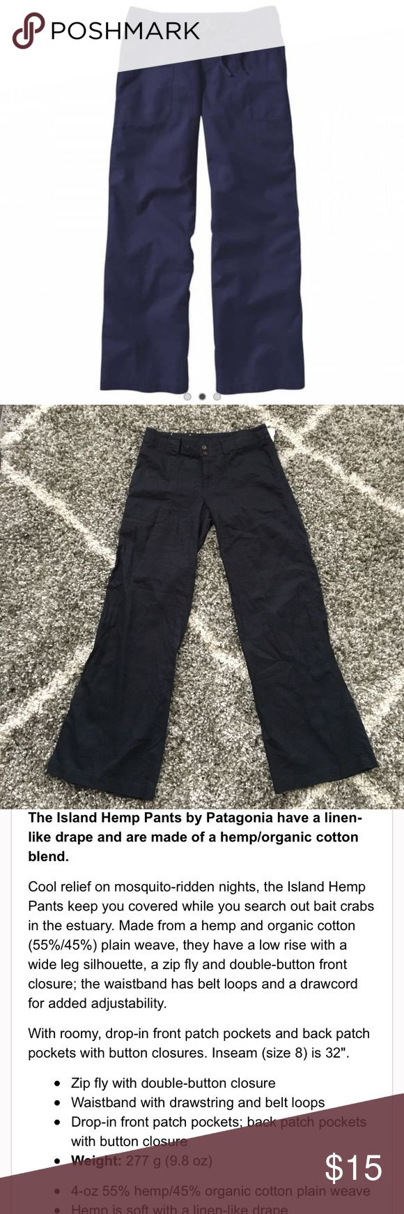 Women's Patagonia Pants Navy blue light weight pants. Draw strings are missing. In good condition. Women's island hemp pants. Patagonia Pants Wide Leg