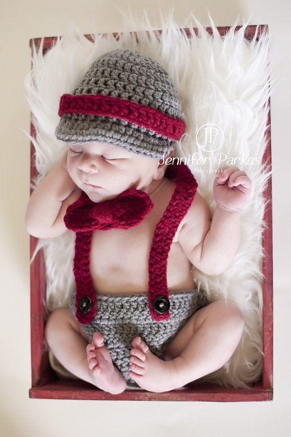 Little Mister Man Newborn Baby Boy hat suspenders by KaityBraedy, $32.00