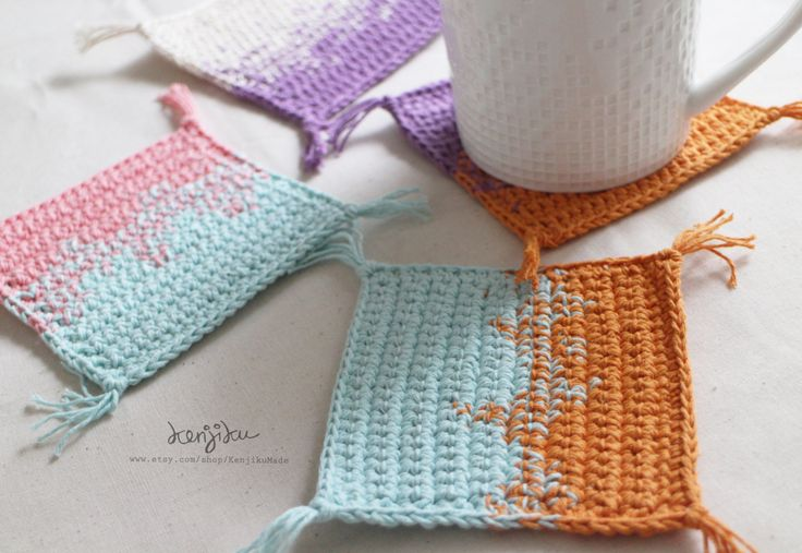 set of 4 - ombre square coaster | coaster gradation set of 4 | crochet coaster | mug rug by KenjikuMade on Etsy