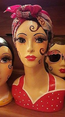Hand painted polystyrene female mannequin head vintage style