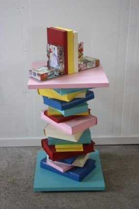 Side Table Made Of Old Books