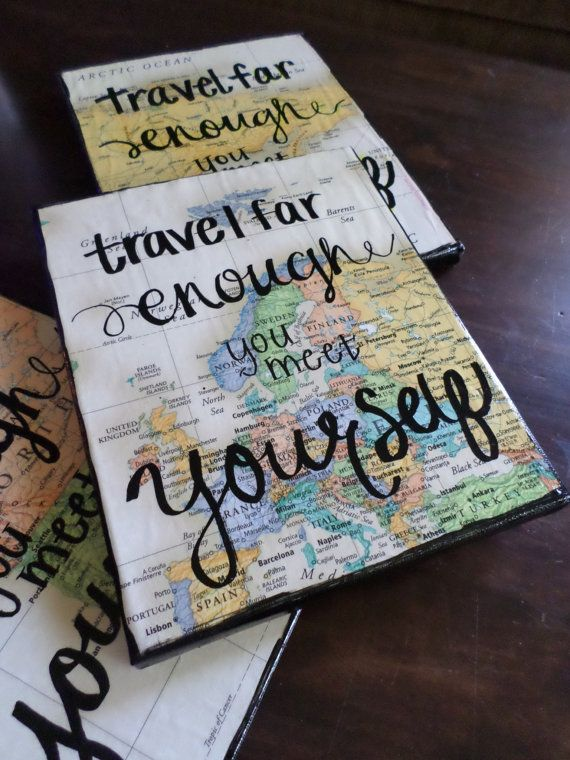 Map Travel Quote Canvas 8x10in by NauticalArtAndDesign on Etsy, $10.00